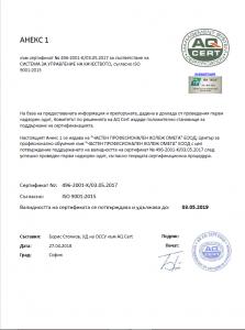Анекс към сертификат ISO за ИТ Колеж Пловдив