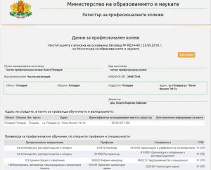 Снимка от регистър на професионалните колежи